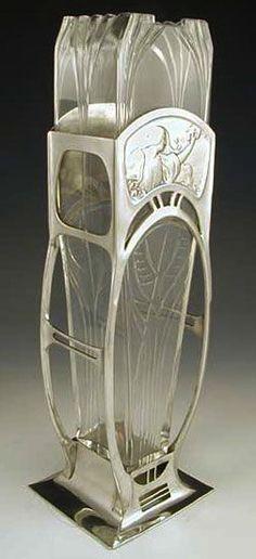 View 1 of 3 - WMF polished pewter vase with art nouveau figural maiden decoration and original glass liner, Germany, 1906 Cristal Art, Jugendstil Design, Modernisme, Vase Design, Art Nouveau Architecture, Wooden Vase, Art Nouveau Design, Art Moderne, Glass Ceramic