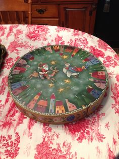 """Top to The 20"""" Ornament Box painted with Heidi England in The Texas Hill Country.  Very good class."""