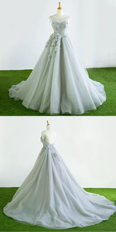 Gray tulle court train winter formal prom dress, halter 3D flower evening dress #prom #dresses #longpromdress #promdress #eveningdress #promdresses #partydresses #tullepromdresses