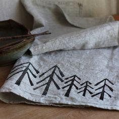 Linen Tea Towel, Modern Tree Silhouette, Lino Cut Block Print, Hand-Printed