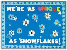 We're as unique as snowflakes! Great idea for a winter classroom bulletin board. http://www.mpmschoolsupplies.com/ideas/1073/were-as-unique-as-snowflakes-winter-bulletin-board/