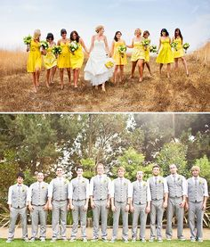 bridal parties! i love the yellow. #wedding #yellow #grey