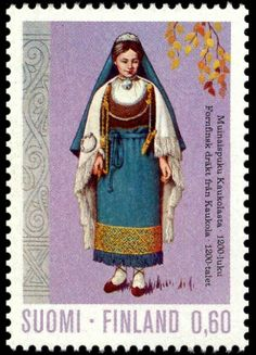 Postage stamp depicting a traditional dress of the 1200s from Kaukola