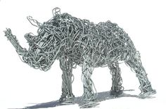 WIRE ART RHINO  -  Hand Crafted in Africa  - Unique Piece of African Art  -    Wire Sculpture Rhino