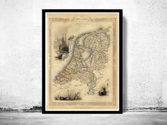 Vintage Map of The Netherlands Hollandia Holland 1851