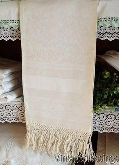 "Antique SHOW Damask Towel 41 1/2"" x 26 1/2"" French Linens"