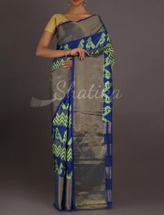 Shreya Passionate Parrots On The Fence Ikat #PochampallySilkSaree