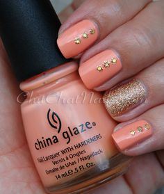 ChitChatNails » Blog Archive » Glittery Peaches
