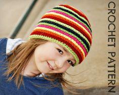 CROCHET HAT PATTERN Kid's Strata Beanie от PlayinHookyDesigns