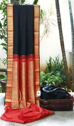 Black and Orange Kanjeevaram saree