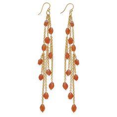 14 Karat Gold Plated Brass Shoulder Duster Earrings with Carnelian