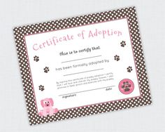 Puppy Party Printable Party Collection by Paige Simple Studio | Puppy Adoption Certificate
