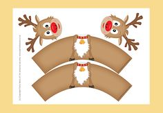Christmas Templates Rudolf Cupcake Wrappers-YOU CAN PURCHASE