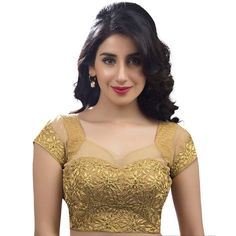 Indian Blouse, Saree Blouse, Blouse Patterns and Designs Golden Blouse Designs, Netted Blouse Designs, Fancy Blouse Designs, Bridal Blouse Designs, Blouse Neck Designs, Blouse Styles, Gold Blouse, Saree Blouse, Sexy Blouse