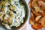 This quick spinach-artichoke dip features creamy labneh. Tailgating Recipes, Tailgate Food, Kebab Recipes, Dip Recipes, Spinach Recipes, Baked Chicken Wings, Chicken Wing Recipes, Whole Wheat Rolls, Tater Tot Recipes