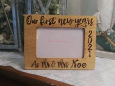 Our First New Years Engraved  Wood 4 x 6 Picture Photo Frame