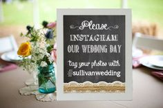 Instagram Wedding Sign Chalkboard Printable 8x10 PDF DIY Burlap & Lace Rustic Shabby Chic Woodland on Etsy, $10.00