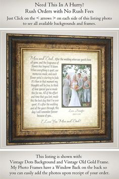 Check out Personalized Wedding Frame for Parents of the Bride, Parents of the Groom Wedding Gift, on photoframeoriginals Wedding Gifts For Bride And Groom, Mother Of The Groom Gifts, Wedding Gifts For Parents, Wedding Thank You Gifts, Father Of The Bride, Bride Gifts, Bride Groom, Gift Wedding, Wedding Cake