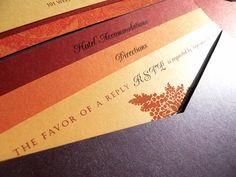 Pocket-Fold Wedding Invitation - Jewel Tones - shown in deep purple, Fall oranges and reds (5x7). $7.25, via Etsy.