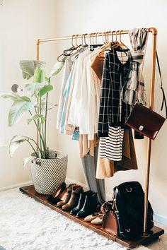 fall capsule wardrobe // diy clothing rack