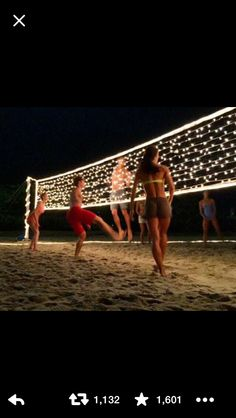 How can you make a volleyball net out of string lights... Sarah would think this was so cool :)