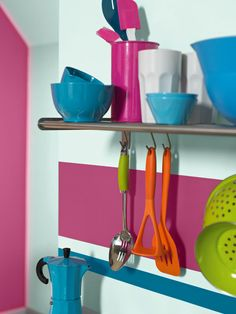 Featuring Oxygen®, Delicious Pink® and Intense Aqua® from the Kitchen and Bathroom range. Cook Up A Storm, Creative Home, Cool Kitchens, My House, Kitchen Decor, Sweet Home, New Homes, Cool Stuff, Aqua