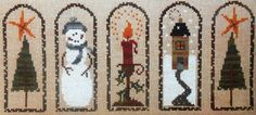 Bent Creek WINTER ARCHES Snowman Christmas Tree - Counted Cross Stitch Pattern Chart via Etsy