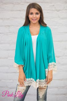 Light It Up Teal Lace Cardigan | Lace detail, Pink lily and Pink ...