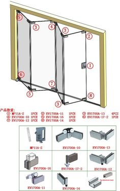 Source Glass folding door hardware folding door on