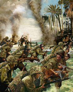Peleliu, hombres de la 1ª División de marines desembarcan en la isla, fuertemente defendida por unos 11.000 japoneses de la 14ª División. Tras dos meses de lucha todos los japoneses, excepto un puñado, han muerto, pero entre marines y la 81ª División de infantería se han perdido 14.500 hombres, de los que 6.650 son muertos - Opera di David Johnson