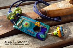 Copper Enamel Art - Necklace - enameled copper, sterling silver and lampwork beads - by Michou P. Anderson