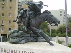 Israel: Australian Light Horse monument in Beer Sheva Australian Beer, Horses And Dogs, War Horses, Ww1 Art, Equestrian Statue, Anzac Day, Remembrance Day, World War One, Horse Art