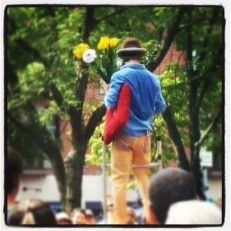 Man in stilts in the heart of Boston, Massachusetts, summer 2012.