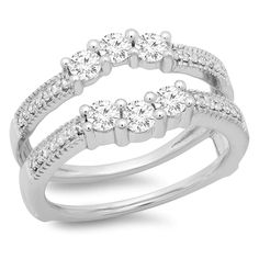 DreamJewels 14K White Gold Plated 1//10ct Round Simulated Diamond Double-Row Enhancer Wedding Ring Wrap Guard