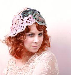 flapper hat in freeform crochet http://www.etsy.com/listing/97278762/crochet-hat-freeform-hat-flowers-leaves