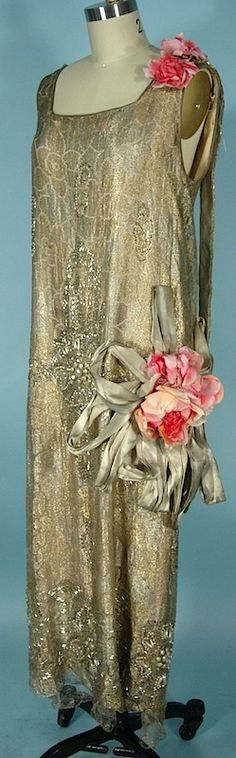 c. early 1920's RARE NUMBERED HOUSE OF REVILLE, Paris, London Flapper Dress of Gold Lame Lace and Beaded with Faux Pearls, Beads and Rhinestones with Huge Original Silk Flowers and Gold Lame Ribbons! London Court Dressmaker for Queen Mary and other high society women.