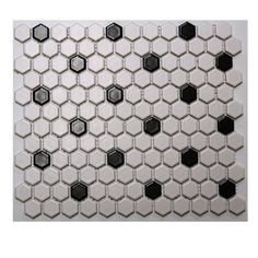 American Olean�10-Pack Satinglo Hex White/Black Ceramic Mosaic Floor Tile (Common: 12-in x 12-in; Actual: 10.5-in x 12.5-in)