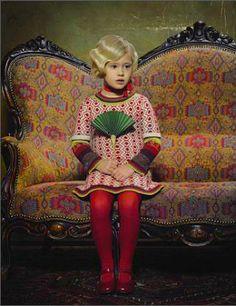 Gray Dormish Warren Settee looks similar, but Celedon green velvet. Little Girl Fashion, Kids Fashion, Young Fashion, Little People, Little Girls, Foto Art, Portraits, Colorful Fashion, Belle Photo