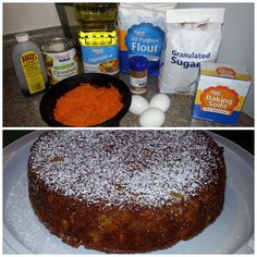 Pastel de zanahoria y piña / carrot and pineapple cake. En un bowl mezclamos los ingredientes secos: 1 1/4 taza azucar, 2 1/4 taza harina, 1 cdita canela, 1 cdita bicarbonato de sodio, 1cdita polvo de hornear, 1/2 cdita sal. En otro bowl batimos: 3 huevos, 1 1/2 taza aceite, 2 cdita vainilla. Unimos todos con una palita junto con 2 tazas de zanahoria rayada y 1 lata de piña molida sin jugo. Vaciar en molde y hornear a 350F por 35-40 min. Espolvorear con colador, 1 cucharada de azucar glass…