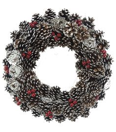 Holiday Cheer Frosted Pinecone Berry Twig Wreath-White Red