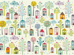 Tischset mit Häusern und Bäumen von Mini Labo