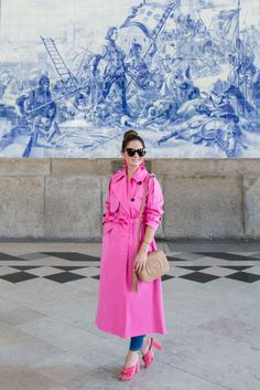 Womens Long Bright Pink Trench Coat