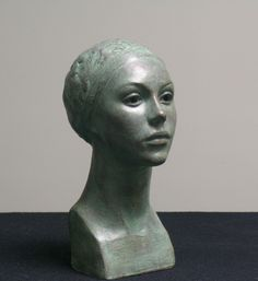 Joanna Mozdzen  -  Green Girl  -   Clay with acrylic finish