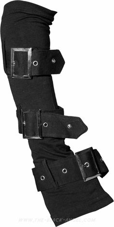 Black gothic gloves (pair) by Queen of Darkness with large straps and metallic buckles.