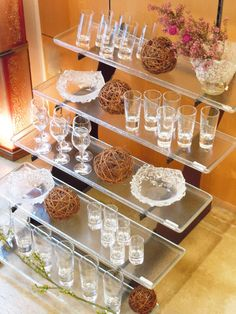 Buffet elevation with glass trays. Design by Glass Studio