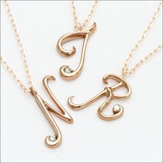 Rakuten: The name running out of a pink gold initial necklace Memories- memory - size to jewelry! A pink gold white gold initial necklace pendant-diamond-[the jewelry which wants to put on in summer]- Shopping Japanese products from Japan