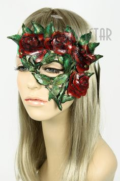 Rose masquerade mask. Leather, handmade. Masqueradeemporium.com