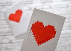 Papírcsíkból fűzött valentin-napi kártya - Masni / Paperstripe Valentine card, easy, DIY