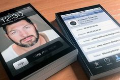 These sweet business cards look exactly like your iPhone lock screen and contact page. Talk about digital-meets-analog!