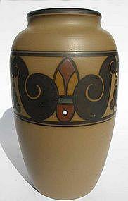 Matt-glazed art nouveau/deco vase made by L. Hjorth, Denmark.
